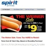 Spirit Airline Sends Customers Weiner Emails