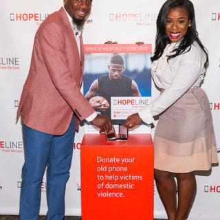 Professional football player William Gay and award-winning actress Uzo Aduba joined Verizon's HopeLine program to take action against domestic violence. Together they announced a goal of collecting 1 million phones this year to support victims of domestic violence. Visit www.verizon.com/about/hopeline to learn more. Insider Images/Andrew Kelly (UNITED STATES)