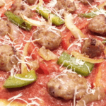 Sausage, Pepper and Onion Flatbread Pizza