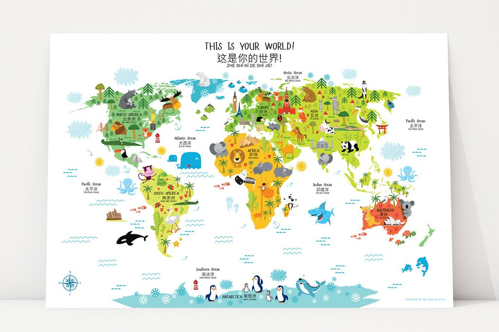 Bilingual world maps blend decor and education bicultural mama gumiabroncs Gallery